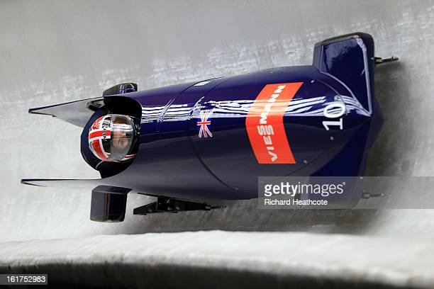Paula Walker and Gillian Cooke of Great Britian in action during the Women's Viessman FIBT Bob Skeleton World Cup at the Sanki Sliding Center in...