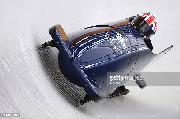 Paula Walker and Rebekah Wilson of Great Britain practise a bobsleigh run ahead of the Sochi 2014 Winter Olympics at the Sanki Sliding Center on...