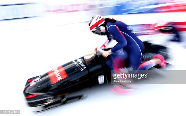 Paula Walker and Rebekah Wilson of Great Britain start heat one of the Women's Bobsleigh competition at the Viessmann FIBT Bob Skeleton World Cup at...