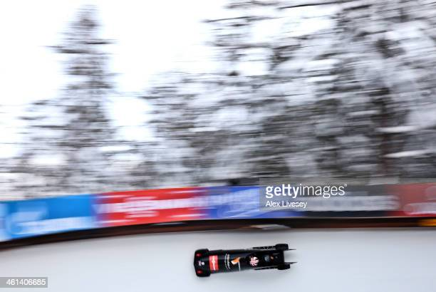 Paula Walker and Sarah Adams of the Great Britain women's bobsleigh team compete at the Viessmann FIBT Bob & Skeleton World Cup on January 8, 2014 in...