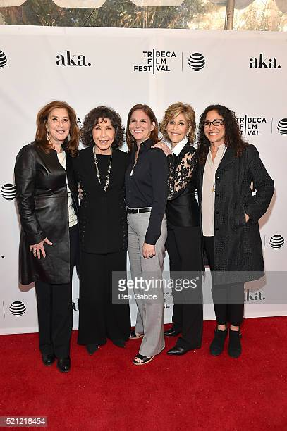 "Paula Weinstein, Lily Tomlin, Marcy Ross, Jane Fonda and Dana Goldberg attend the Tribeca Tune In: ""Grace And Frankie"" - 2016 Tribeca Film Festival..."