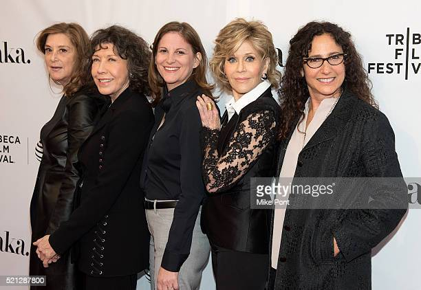Paula Weinstein Lily Tomlin Marcy Ross Jane Fonda and Dana Goldberg attend the Tribeca Tune In Grace and Frankie during the 2016 Tribeca Film...