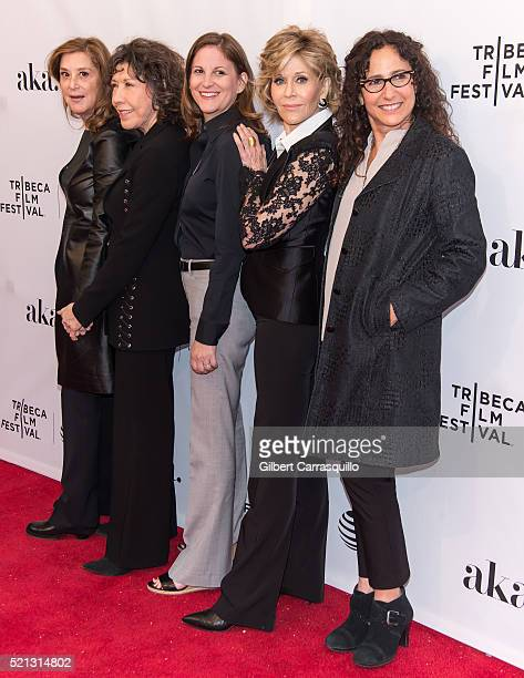 Paula Weinstein, Lily Tomlin, Marcy Ross, Jane Fonda, and Dana Goldberg attend Tribeca Tune In: 'Grace and Frankie' during 2016 Tribeca Film Festival...