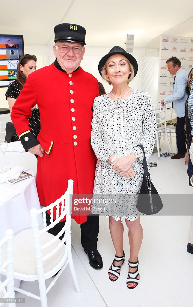 Paula Wilcox (R) and a guest attend the Flannels for Heroes charity cricket match and garden party hosted by menswear brand Dockers at Burtons Court on June 19, 2015 in London, England.