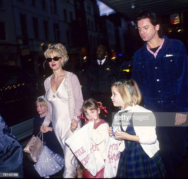 Paula Yates, Michael Hutchence, and her three children with Bob Geldof, Fifi Trixibelle, Peaches Honeyblossom and Pixie