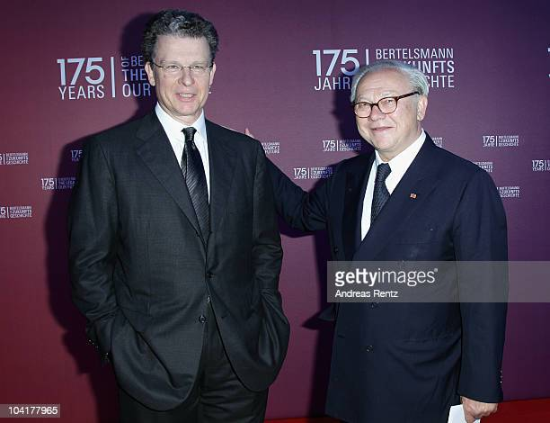PaulBernhard Kallen and publisher Hubert Burda arrive for the Bertelsmann 175 years celebration ceremonial act at the Konzerthaus am Gendarmenmarkt...