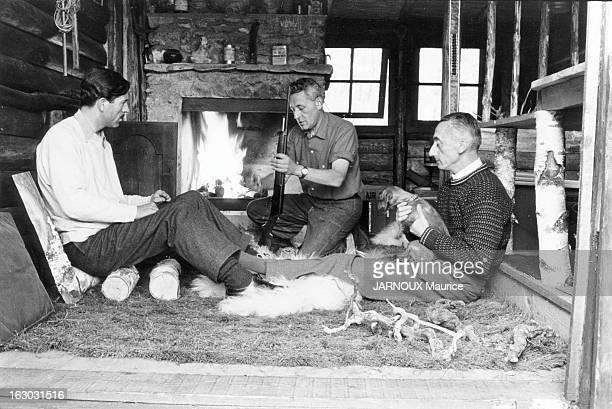 PaulEmile Victor In His Hut In Rambouillet Rambouillet juin 1956 PaulEmile VICTOR l'explorateur du Grand Nord dans sa cabane de la forêt de...