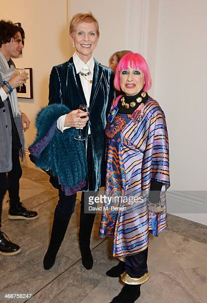 Paulene Stone and Zandra Rhodes attend a private view of Bailey's Stardust a exhibition of images by David Bailey supported by Hugo Boss at the...