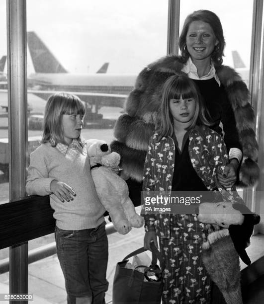Paulene Stone widow of actor Laurence Harvey with her daughters Sophie by her first marriage and five year old Domino