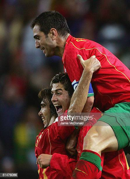 Pauleta of Portugal celebrates his goal with Cristiano Ronaldo during the FIFA World Cup 2006 Group 3 match between Portugal and Russia on October 13...