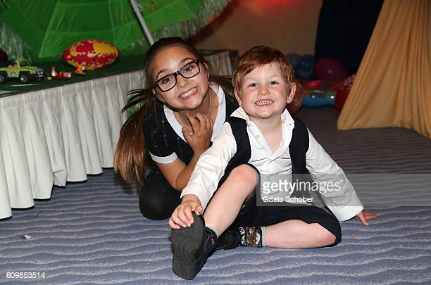 Pauletta Amira Pollmann and her brother Maris Atalay children of Erdogan Atalay during the surprise party for Erdogan Atalay's 50th birthday at Hotel...