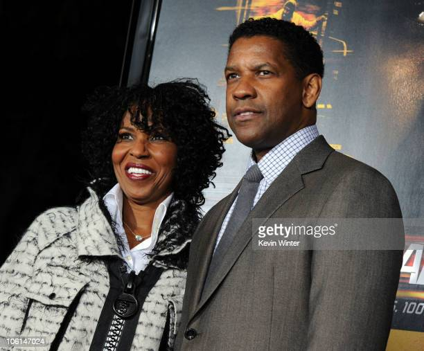 Pauletta Pearson and actor Denzel Washington arrive at the premiere of Twentieth Century Fox's Unstoppable at Regency Village Theater on October 26...