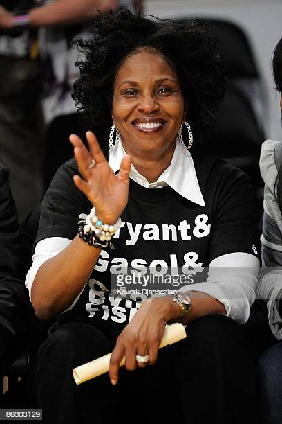 Pauletta Pearson the wife of actor Denzel Washington waves from her courtside seat during the Los Angeles Lakers against Utah Jazz in Game Five of...