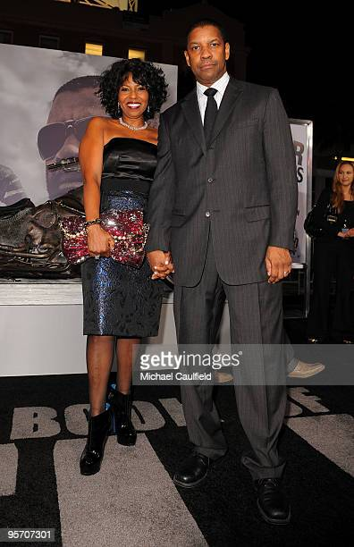 Pauletta Washington and actor Denzel Washington arrive at The Book Of Eli premiere held at Grauman's Chinese Theatre on January 11 2010 in Hollywood...