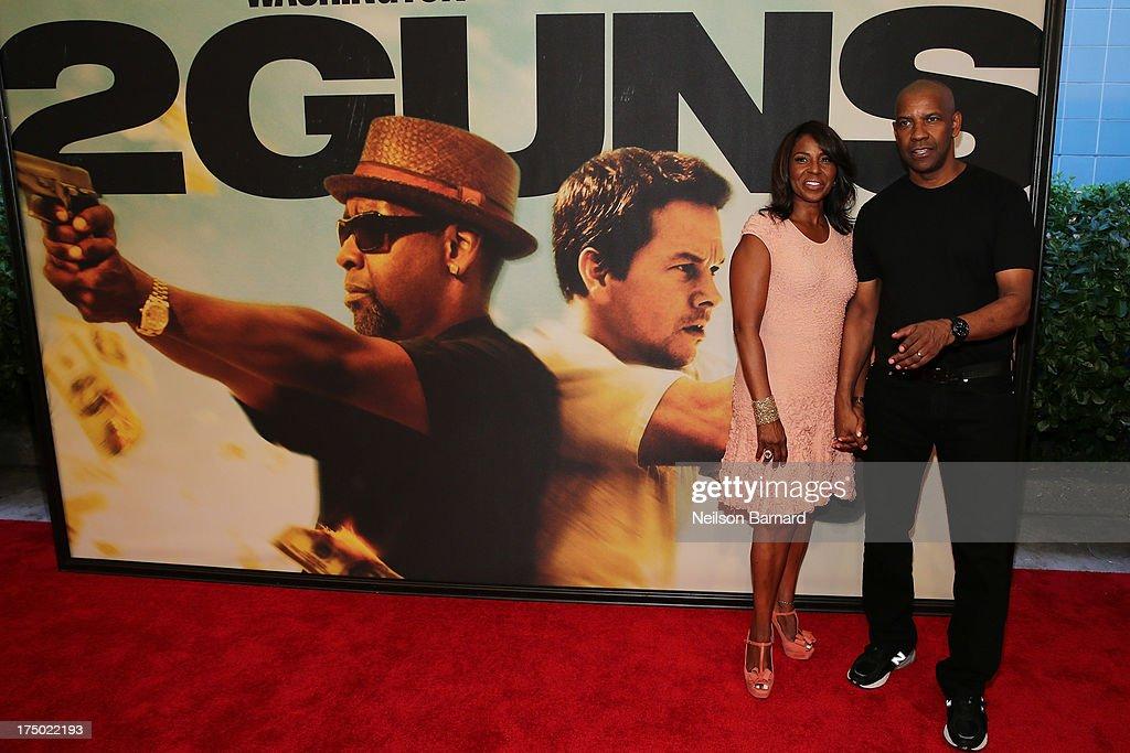 Pauletta Washington and Denzel Washington attend the '2 Guns' New York Premiere at SVA Theater on July 29, 2013 in New York City.