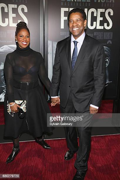 Pauletta Washington and Denzel Washington attend the New York special screening of Fences presented by Paramount Pictures on December 19 2016 in New...