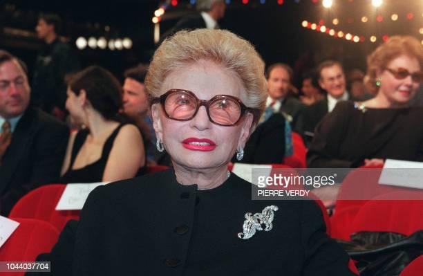 Paulette Coquatrix une des dirigeantes de l'Olympia assiste le 14 avril 1997 à la dernière de l'Olympia le célèbre musichall classé monument...