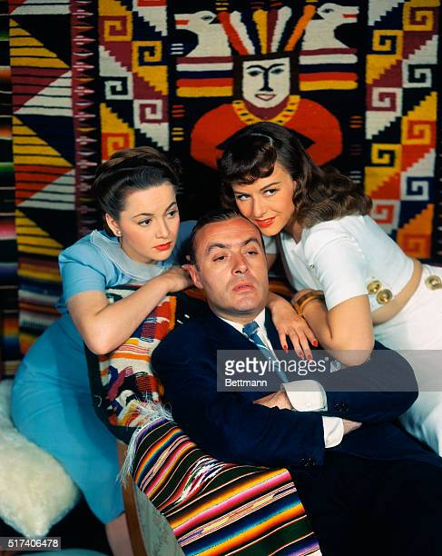 Paulette Goddard with Charles Boyer and Olivia De Haviland UPI color slide
