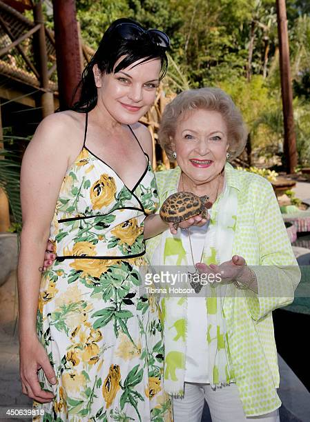 Pauley Perrette and Betty White attend the Greater Los Angeles Zoo Association's 44th annual 'Beastly Ball' at Los Angeles Zoo on June 14 2014 in Los...