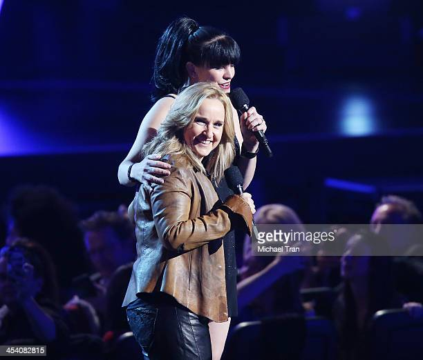 Pauley Perrette and Melissa Etheridge speak at the GRAMMY Nominations Concert Live held at Nokia Theatre LA Live on December 6 2013 in Los Angeles...