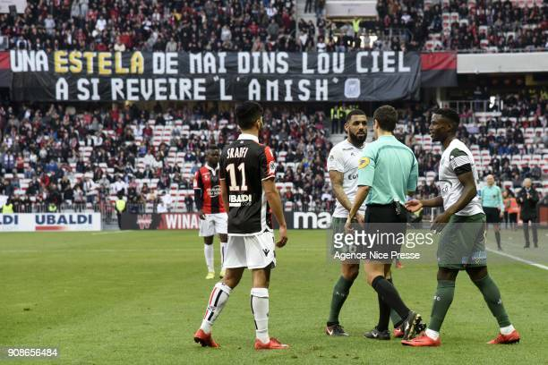 PaulGeorges Ntep and Yann M'Vila of Saint Etienne with the referee Frank Schneider during the Ligue 1 match between OGC Nice and AS Saint Etienne at...