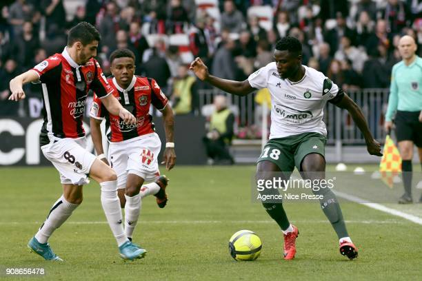 PaulGeorges Ntep of Saint Etienne and Pierre Lees Melou of Nice during the Ligue 1 match between OGC Nice and AS Saint Etienne at Allianz Riviera...