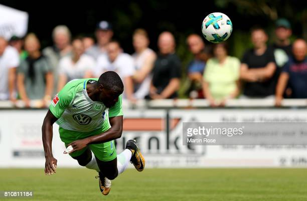 PaulGeorges Ntep of Wolfsburg heads the ball during the preseason friendly match between Gifhorner SV and VfL Wolfsburg at GWG Stadium on July 8 2017...