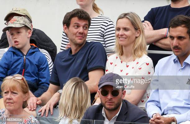 Paul-Henri Mathieu and his wife Quiterie Mathieu attend the final of 'Stars, set and match' won by Vianney and Fabrice Santoro, a mini celebrity...