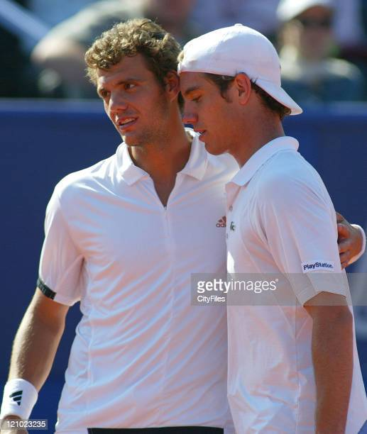 PaulHenri Mathieu it gave up for having muscular pains and compliments Richard Gasquet during the 2007 Estoril Open on May 5 2007