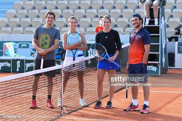 """Paul-Henri Mathieu, Ophélie Meunier, Pauline Parmentier and Amir attend the """"Stars, Set et Match"""" tournament at Roland Garros on October 07, 2020 in..."""