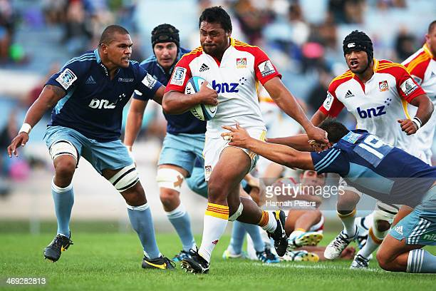 Pauliasi Manu of the Chiefs makes a break during the Super Rugby trial match between the Blues and the Chiefs on February 14 2014 in Rotorua New...