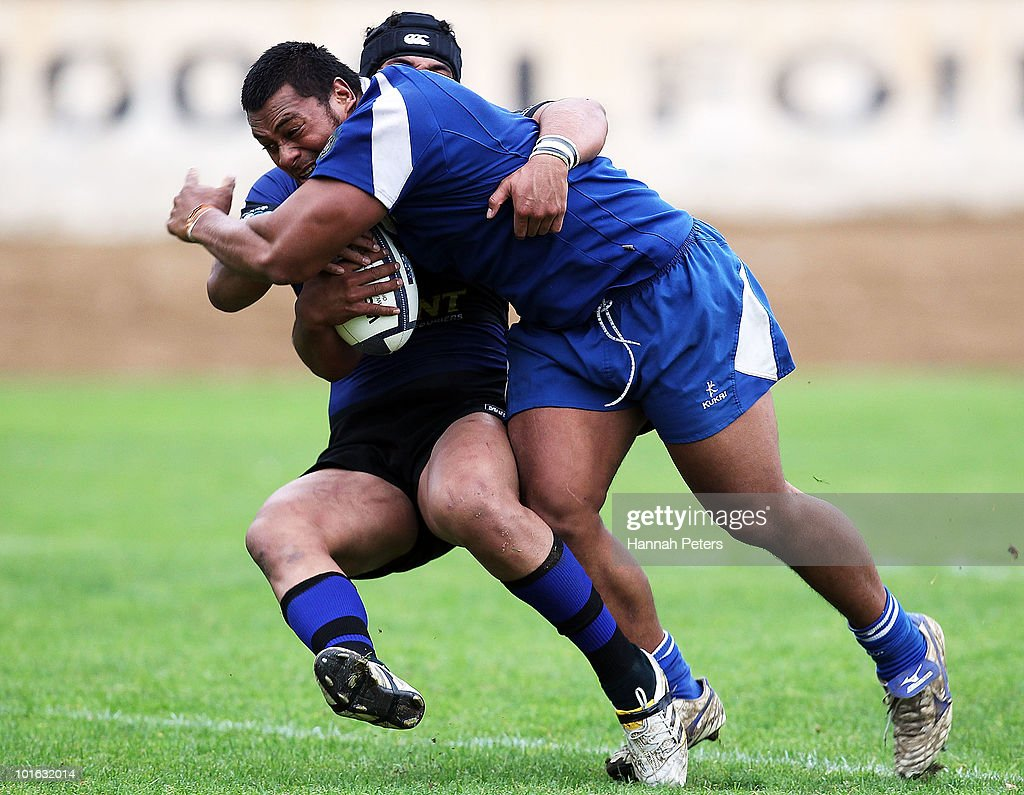 Pauliasi Manu of University charges forward during the club rugby match between Ponsonby and University at Western Springs Stadium on June 5, 2010 in Auckland, New Zealand.