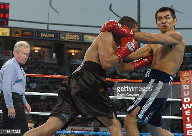 Paulie Ayala and Marco Antonio Barrera exchange punches during their WBC Continental Americas Middleweight Championship at the Home Depot Center June...