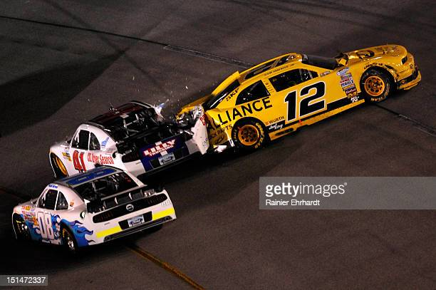 Paulie Harraka driver of the Randy Hill Racing Ford Timmy Hill driver of the Lilly Trucking CDL Driver Search Ford and Sam Hornish Jr driver of the...