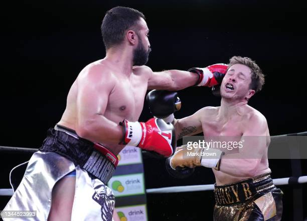 "Paulie Malignaggi throws a punch at Corey ""Corey B"" Bonalewicz during Celebrity Boxing Miami 2021 Lamar Odom vs Ojani Noa at the James L. Knight..."