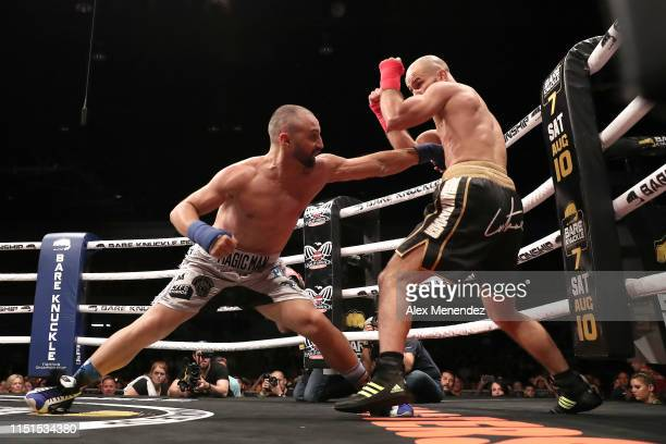 Paulie Malignanni and Artem Lobov exchange blows during the Bare Knuckle Fighting Championships at Florida State Fairgrounds Entertainment Hall on...