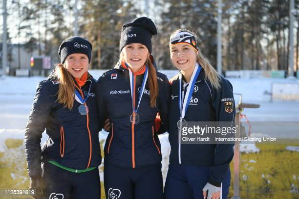 Paulien Verhaar of the Netherlands with the bronze medal Robin Groot of the Netherlands with the gold medal and Victoria Stirnemann with the silver...