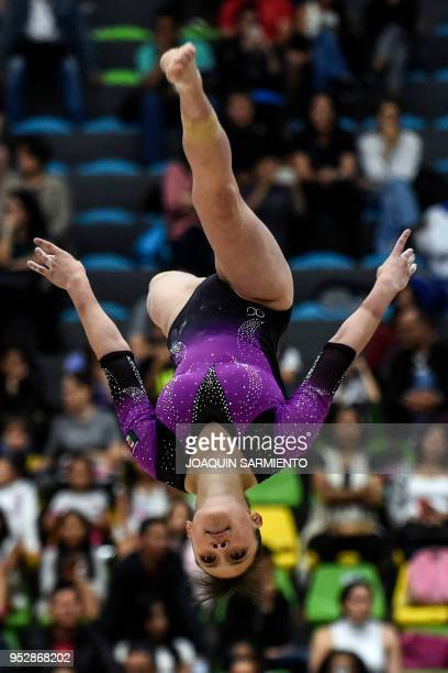 Paulina Campos from Mexico competes on the balance beam during the final day of the 2018 Pacific Rim Championships in Medellin Antioquia department...