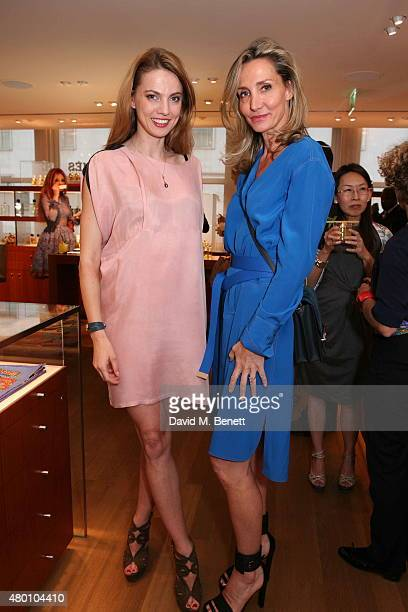 Paulina Cebrzynska and Marie Moatti attend the launch of new fragrance Le Jardin De Monsieur Li by Hermes Paris hosted by Mr Fogg's of Mayfair at the...