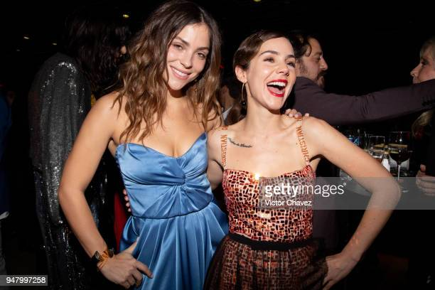 Paulina Davila and Camila Sodi have fun during the Netflix Luis Miguel Premiere party at Cinemex Antara on April 17 2018 in Mexico City Mexico