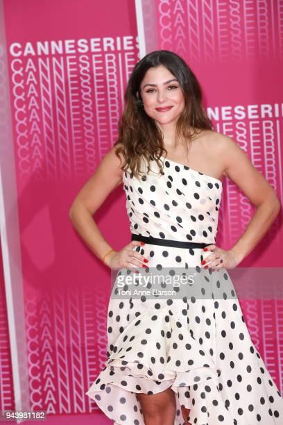 Paulina Davila attends Aqui En La Tierra and Il Cacciatore screening during the 1st Cannes International Series Festival at Palais des Festivals on...