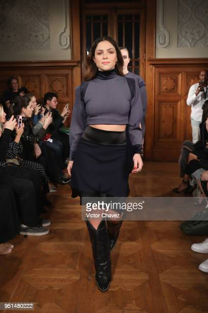 Paulina Davila walks the runway during the Sangre De Mi Sangre show at Mercedes Benz Fashion Week Mexico Fall/Winter 2018 at Versalles on April 25...