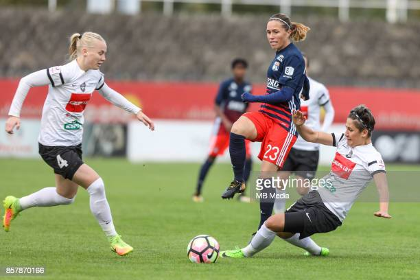 Paulina Dudek of Medyk and Camille Abily of Olympique during the UEFA Women's Champions League match between KKPK Medyk Konin and Olympique Lyon on...