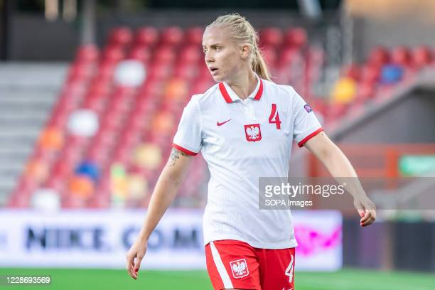 Paulina Dudek of Poland seen in action during the UEFA Women's EURO 2021 qualifying match between Poland and Czech Republic at BielskoBiala City...