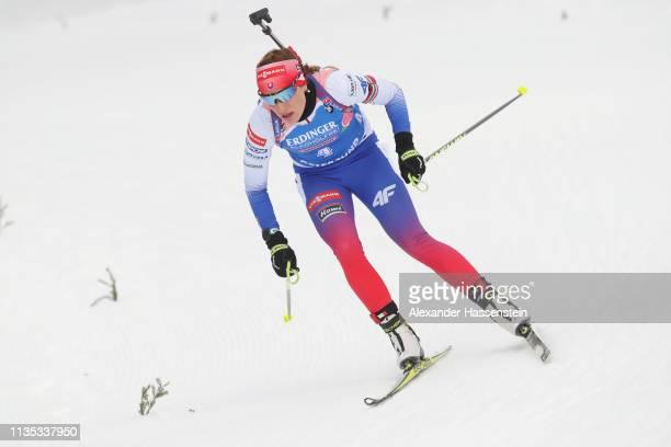 Paulina Fialkova of Slovakia competes during the Women's 15km race at the IBU Biathlon World Championships at Swedish National Biathlon Arena on...