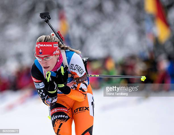 Paulina Fialkova of Slovakia in action during the Women 4 x 5 km relay Biathlon race at the IBU Biathlon World Cup Ruhpolding on January 17 2016 in...