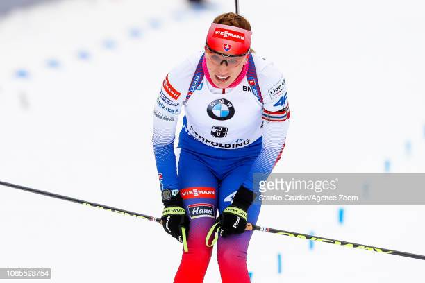 Paulina Fialkova of Slovakia takes 3rd place during the IBU Biathlon World Cup Men's and Women's Mass Start on January 20, 2019 in Ruhpolding,...