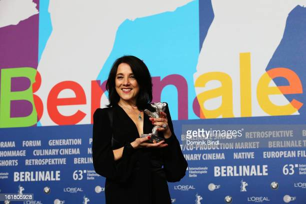 Paulina Garcia poses with the award for best actress at the Award Winners Press Conference during the 63rd Berlinale International Film Festival at...
