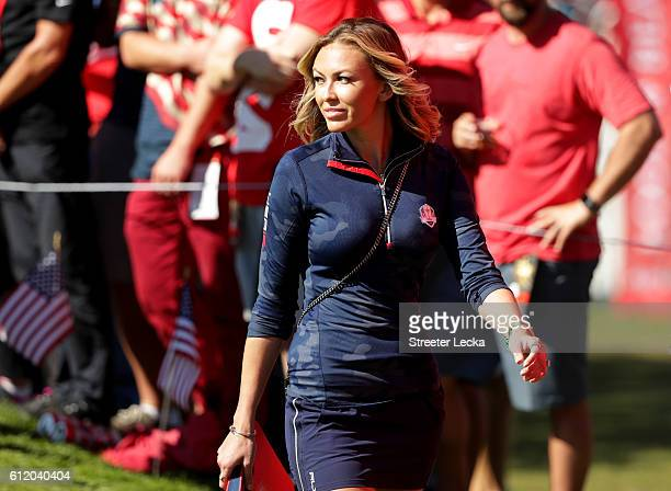 Paulina Gretzky looks on during singles matches of the 2016 Ryder Cup at Hazeltine National Golf Club on October 2 2016 in Chaska Minnesota