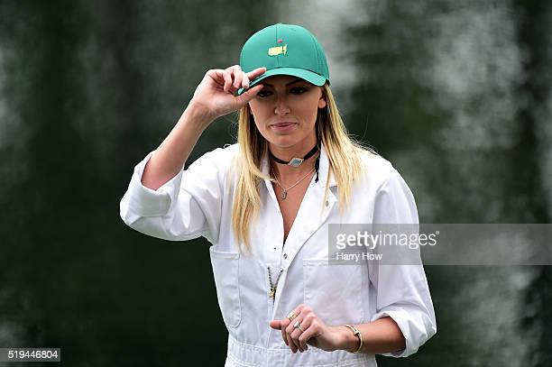 Paulina Gretzky the girlfriend of Dustin Johnson of the United States attends the Par 3 Contest prior to the start of the 2016 Masters Tournament at...